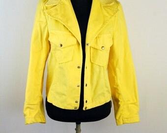 1970s western jacket, rust color jacket, burnt orange, brushed cotton, Unisex jacket, Liberty's Scene Jeans, NOS