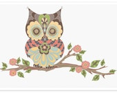Owl Art Print - Elegant Woodland- Charming Playroom Decor - Kids Bedroom Wall Art - Owl On A Branch