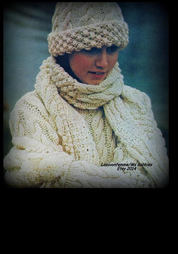 Knitting Pattern For Hat In Aran Wool : Aran Sweater Mittens Hat & Scarf Pattern Knit Bust 34 40