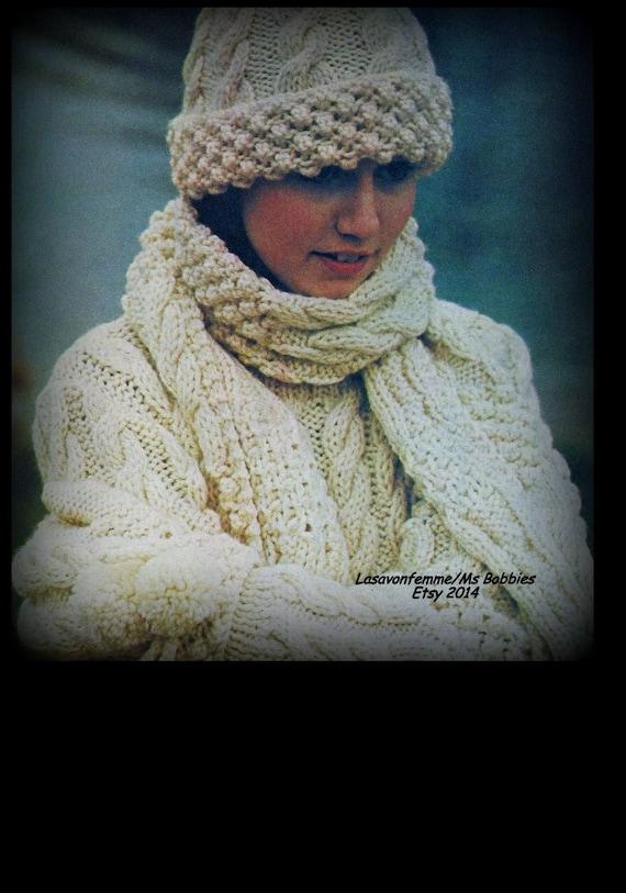 Free Knitting Patterns For Hats In Aran Wool : Aran Sweater Mittens Hat & Scarf Pattern Knit Bust 34 40
