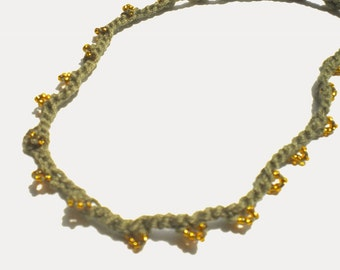 Crocheted  Beaded Necklace Cotton Yarn w Gold Gutermann Seed Beads