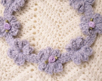 Crocheted Flowered Garland Headband Infant/Toddler Heather Grey