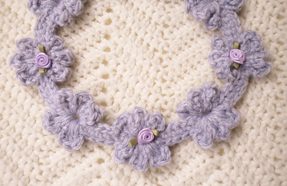 Crochet Hair Garland : Crocheted Flowered Garland Headband Infant/Toddler Heather Grey