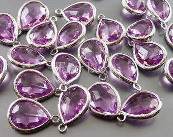 2 simple purple lavender faceted glass gemstone beads / glass crystal charms 5073R-LA