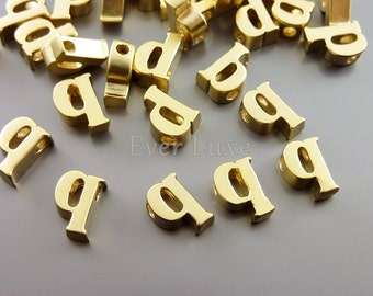 2 lower case letter q, initial beads, initial charms, alphabet beads, personalized / customized jewelry 1947-MG-Q (matte gold, q, 2 pcs)
