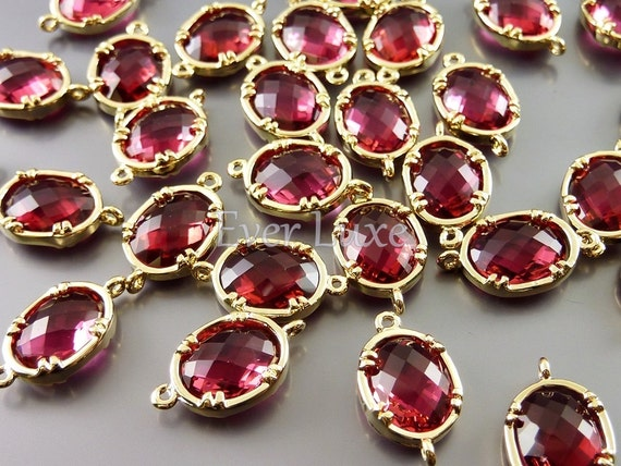 2 Faceted oval round ruby red glass gold plated bezel links / connectors, handmade jewelry supplies 5041G-RU (bright gold, ruby, 2 pieces)