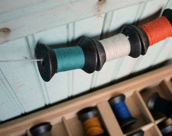 12 Blackened Colorful Thread Spools - Primitive 2 Inch Wooden Bobbins - Set of 12 Rustic Decor