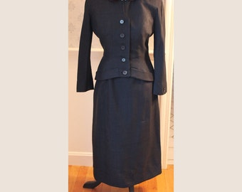 Vintage 1950s 2 Piece Hurwitch Bros Navy Blue Silk Skirt Suit with Velvet Collar and Art Deco Rhinestone Clasp