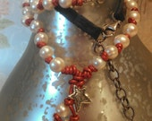 PEaRl NecKlace, LeaTher NecKlace, LonG NecKlace MN06
