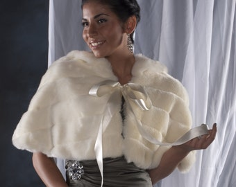 Faux Fur Capelet Bride's Cape Winter Wedding Coat Available in Cream, Black, Winter white or Ivory grooved faux fur