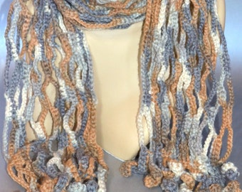 SALE!!! Brown and gray fishnet lace crocheted scarf