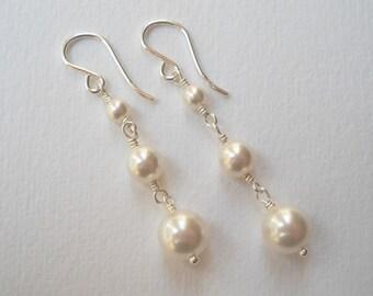 Graduated Pearl Earrings - Swarovski Pearl Triple Earrings Bridal Accesories Bridesmaids Maid of Honor Gift Wedding Party