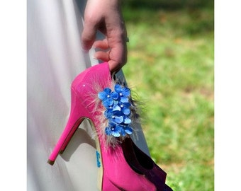Shoe Clips Something Blue / Lavender / Lime Green / Pink & White - Ivory Feather Pin, Spring Elegant Statement Bride Bridesmaid, MORE colors