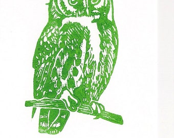 Eco Owl Linocut- Green Upcycled Original Art- - 4x6 inches- Signed Edition of 50