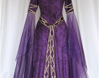 Eve, a Celtic, Elvish, Medieval, Pagan Wedding Gown with Applique Decoration.