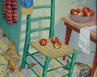 """Art & Collectibles Original Oil Painting  Still Life interior Traditional Cat Animals Chair apple Quebec Canada Audet """" Idleness """" 24"""" x 30"""""""