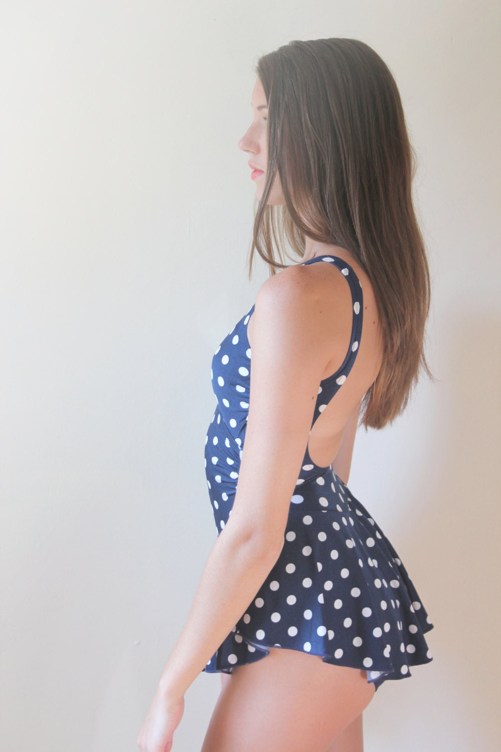 Vintage Swimsuit / Bathing Suit / one piece / Polka dot skirt
