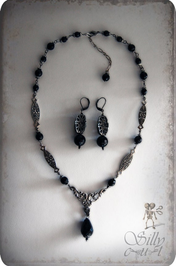 Reserved - necklace & earrings - ONYX DREAMS VI - gothic, elisabethan, victorian, edwardian, 1920s