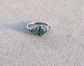 1970s Ring malachite and sterling silver Mexico size 6