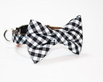 Black Gingham Bow Tie Dog Collar- Wedding Dog Collar- Dog Collar- Bow Tie Dog Collar