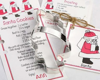 Cookie Cutters, Santa Cookie Cutter, Christmas Milk and Cookies Party, Holiday, Baking Party, Recipe Card, Kid Christmas Party, Santa Cookie