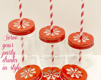 Plastic Mason Jar Cups, 14 Plastic Mason Jars with Daisy Jar Lids, Christmas Party, Birthday Party Wedding Baby Shower Favors  17 OZ Jar