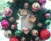 Pink and Green Vintage Christmas Ornament Wreath with Shiny Brite Bulbs Ornaments