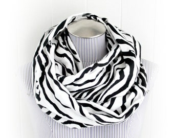 Zebra Flannel Infinity Scarf, Animal Print Black stripes on White Flannel Loop Scarf