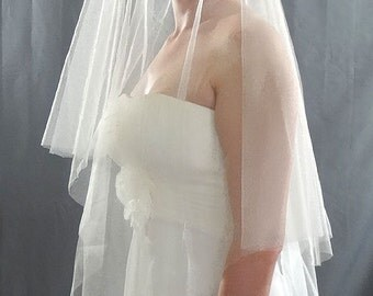 French Silk Tulle Drop Veil, Circular Wedding Veil, Soft Bridal Veil