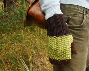 Winter mittens, green, men gloves, gift, knitted
