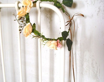 Champagne flower crown, wedding hair piece, hair wreath, rose flower crown, one size fits all