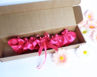 Wedding Bridal Garter fuchsia pink color with pink flower