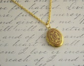 Small Red Ornate Locket Necklace -  Oval Red Pendant Delicate - Simple