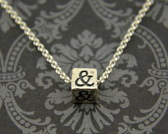 Two for One Sale....Sterling Silver Ampersand Necklace