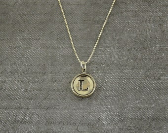 Initial Letter L -  Typewriter Key Pendant Necklace Charm - Sterling Silver - Other Letters Available