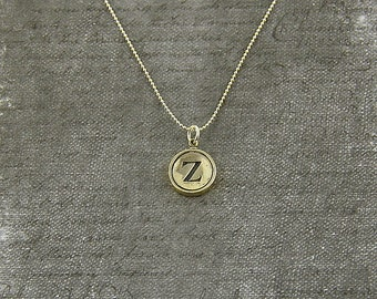Letter Z Necklace - Silver Initial Typewriter Key Charm Necklace - Gwen Delicious Jewelry Design GDJ