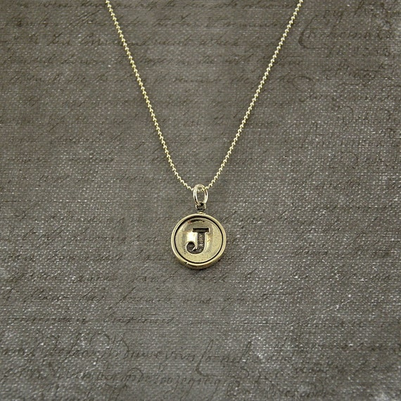 Letter J Necklace - Silver Initial Typewriter Key Charm Necklace - Gwen Delicious Jewelry Design