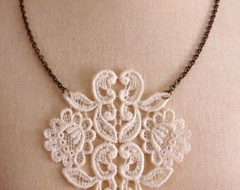 Lace Necklace with Antique Brass Chain 24 Inch Length