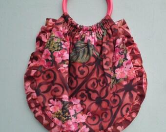 Vintage 1960s Handmade Bag Purse Handbag Knitting Bag Pink Floral Fabric Roses Cotton 60s Small Tote Bag Unused
