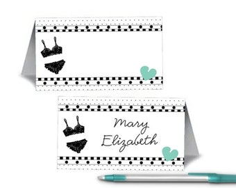 Set of 12 Blank Table Tent Name Cards, Bridal Shower, Bachelorette Party, Lingerie Party, Lots of Colors