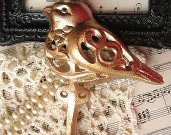 Cast Iron Bird Hook Hanger Painted in Gold Leaf Paint  with Crown/French Decor/Towel Holder