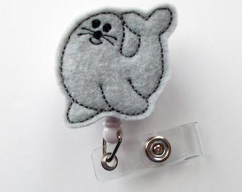 Simon the Seal - Retractable ID Badge Reel - Name Badge Holder - Pediatric Badge Reel - Nurse Badge Holder - Nursing Badge - Felt Badge