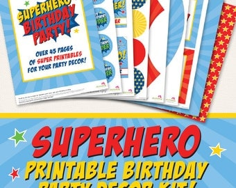 Superhero birthday party printable decor kit - Over 45 pages of SUPER printables!