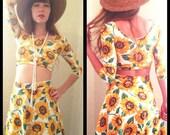 Sunflower 2-piece Set Crop Top and Skater Skirt