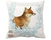 Pillow Cover Autumn Fox Woodland Fall Decor Pillow Cotton and Burlap Pillow