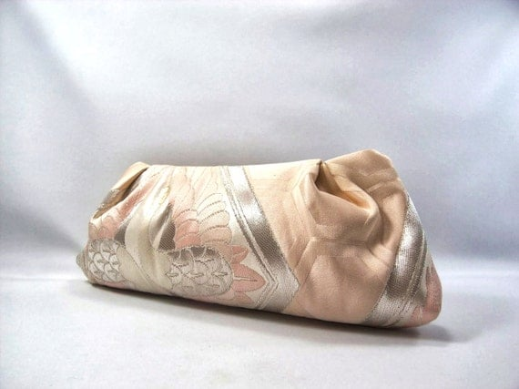 Japanese Kimono and Obi Clutch purse in light pink with silver crane