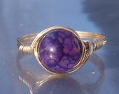 Large Purple Dragon Vein Agate 14k Yellow Gold Fill Wire Wrapped Ring