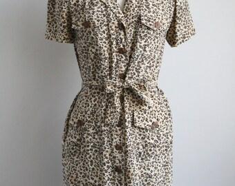 Vintage Silk Dress - Silk Shirt Dress - Leopard Print Dress