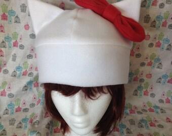 Fleece Hello Kitty Inspired Hat Handmade