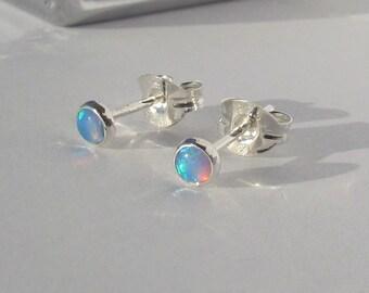 Tiny Opal In Sterling Silver Post Earrings, 3mm Gemstone Studs